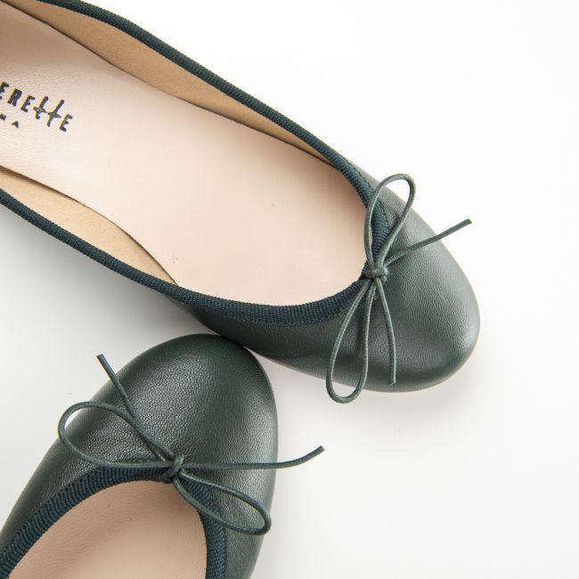 Bottle green leather ballet flats