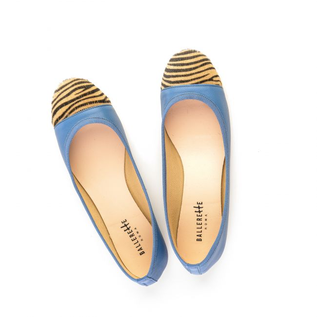 Blue jeans leather ballet flats with zebra pattern toe