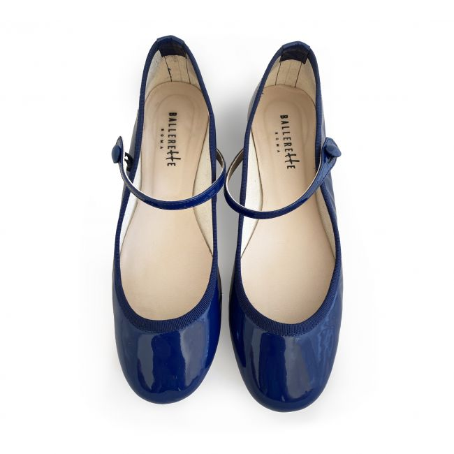 Blue patent leather ballet flats with strap