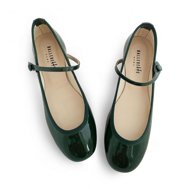 Green patent leather ballet flats with strap