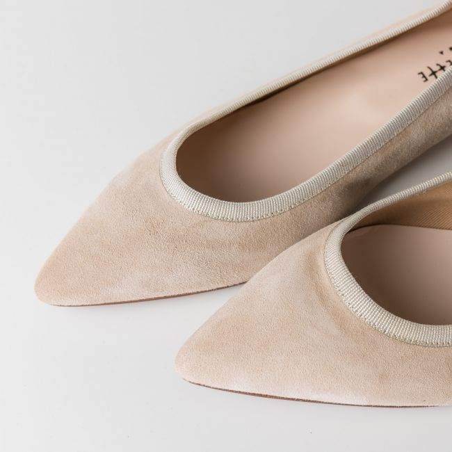 Beige pointed toe ballet flats
