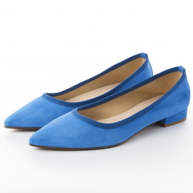 Pointed toe royal blue suede ballet flats
