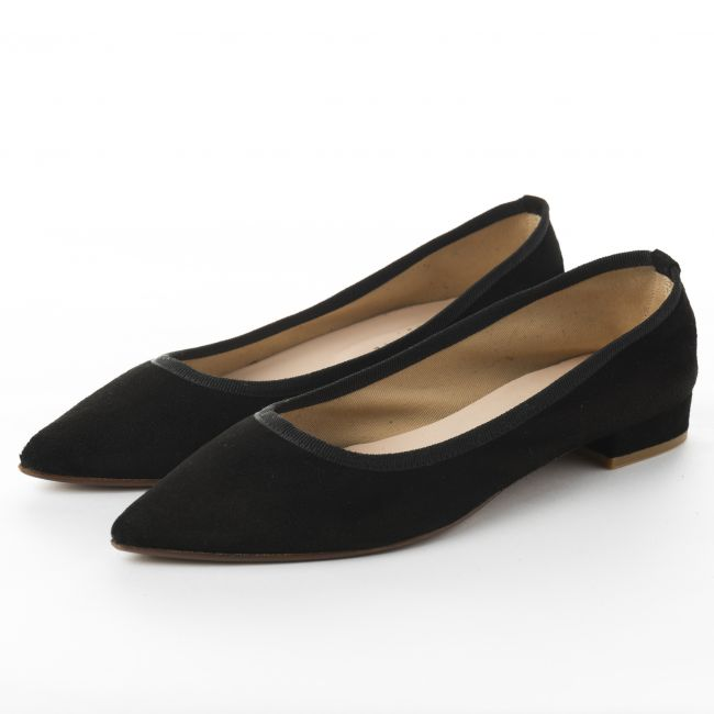 Pointed toe black suede ballet flats