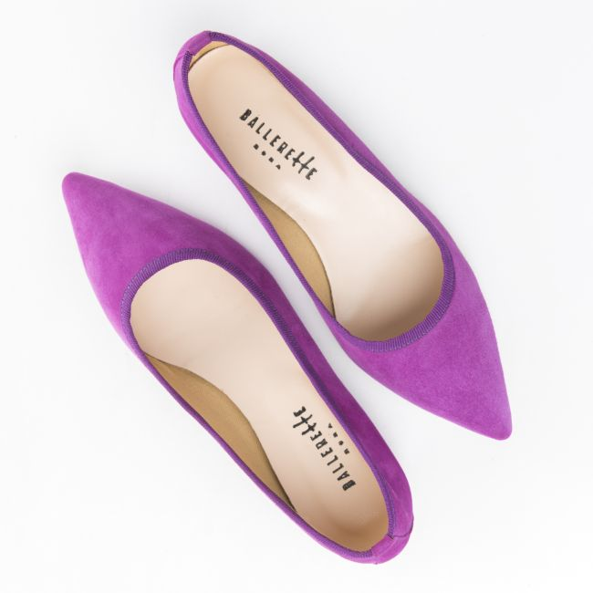 Pointed toe plum suede ballet flats