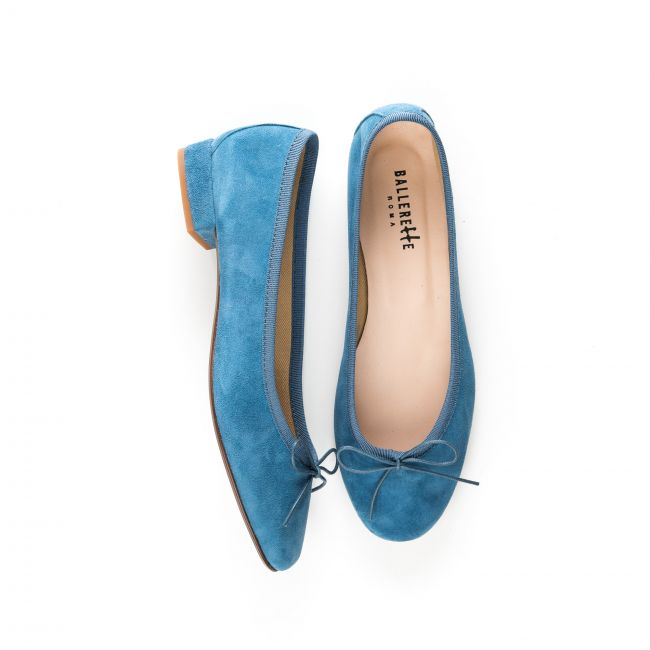 Ballerine con tacco blu ceruleo in camoscio