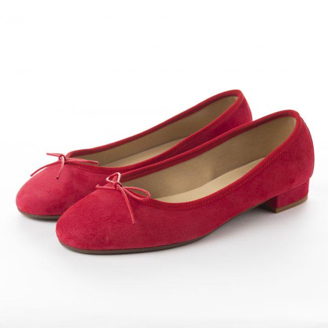 Ballerine con tacco rosse in camoscio