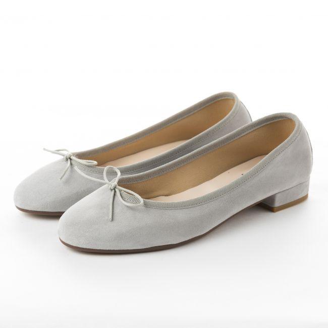 Light grey suede medium heel ballerinas