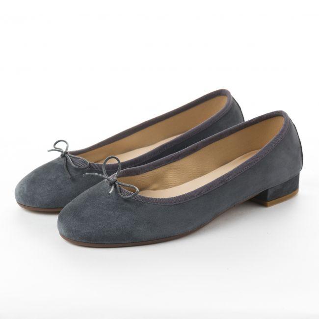 Gray suede ballet flats with medium heel
