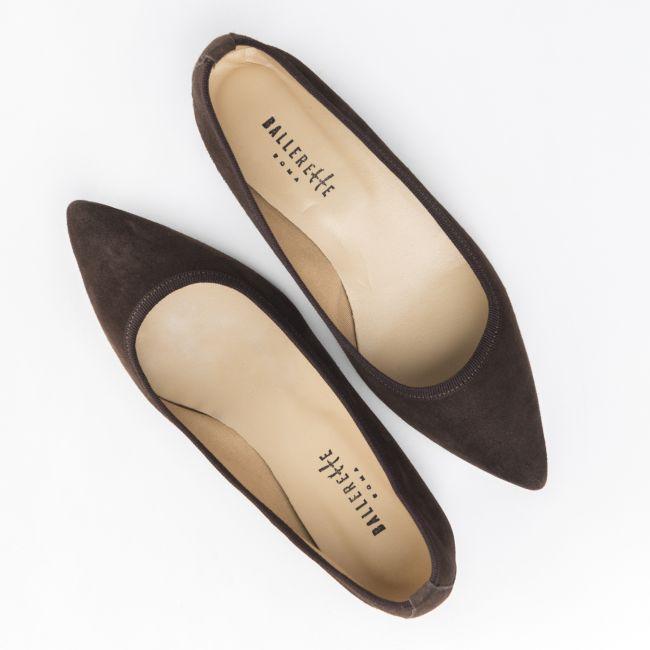 Pointed toe dark brown suede ballet flats