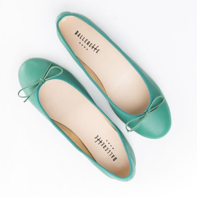 Emerald green leather ballet flats