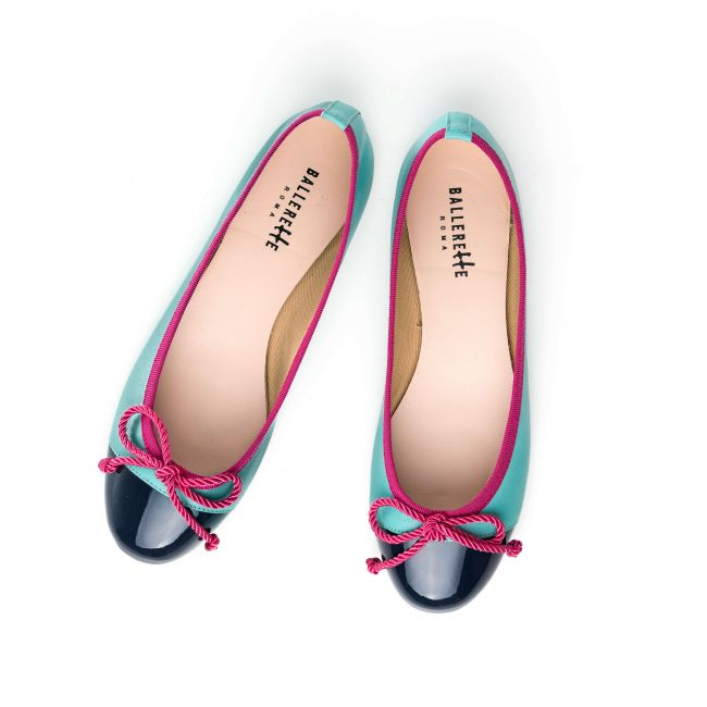 Aquamarine leather ballet flats with blue patent toe and fuchsia ribbon