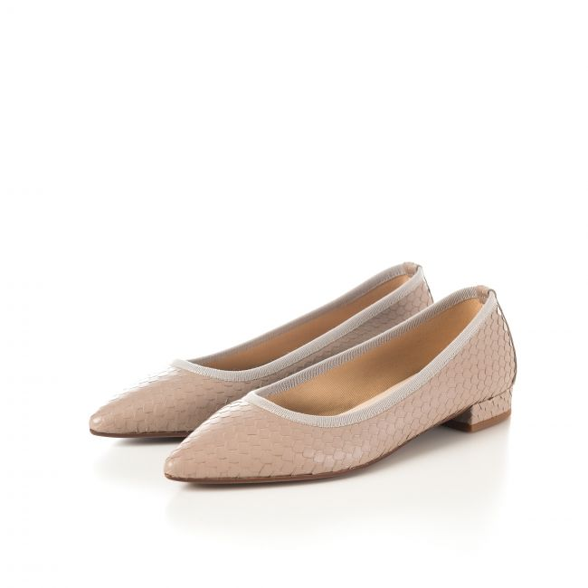 Pointed toe ballet flats dove gray cobra effect leather