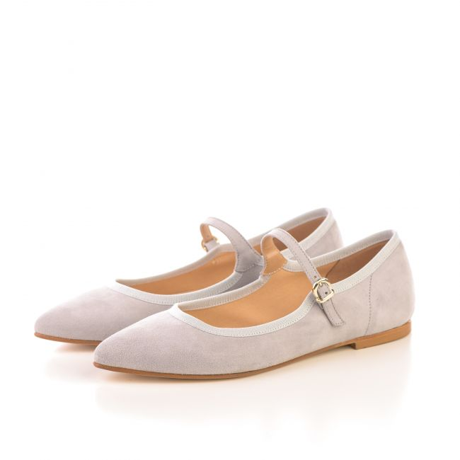 Light gray pointed toe ballet flats with strap