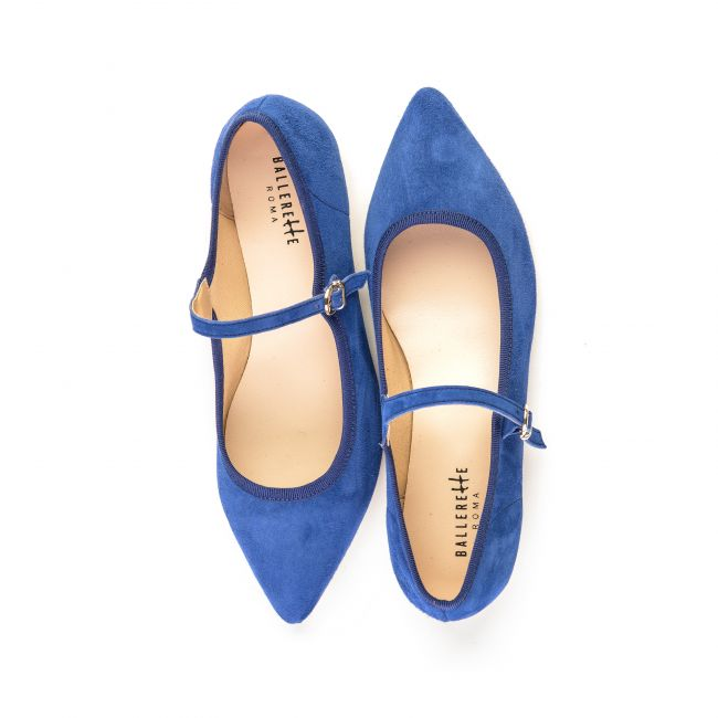 Blue indigo pointed toe ballet flats with strap