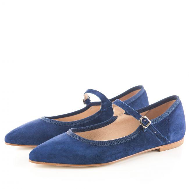 Ballerine blu biro a punta con cinturino