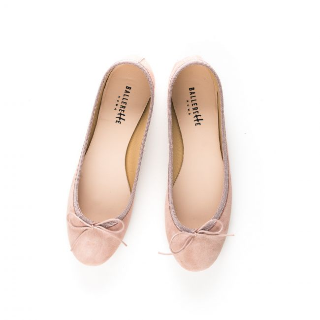 Pink suede ballet flats