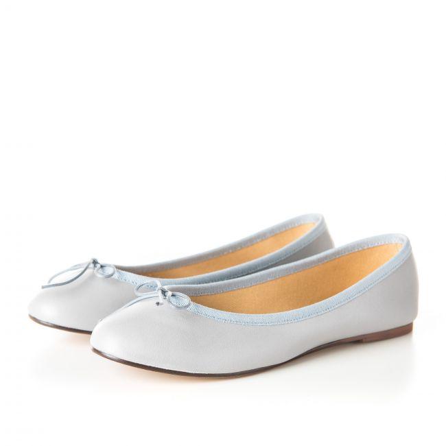 Light gray leather ballet flats