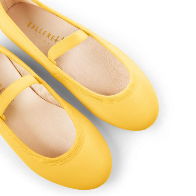 Yellow leather girls ballet flats with elastic band