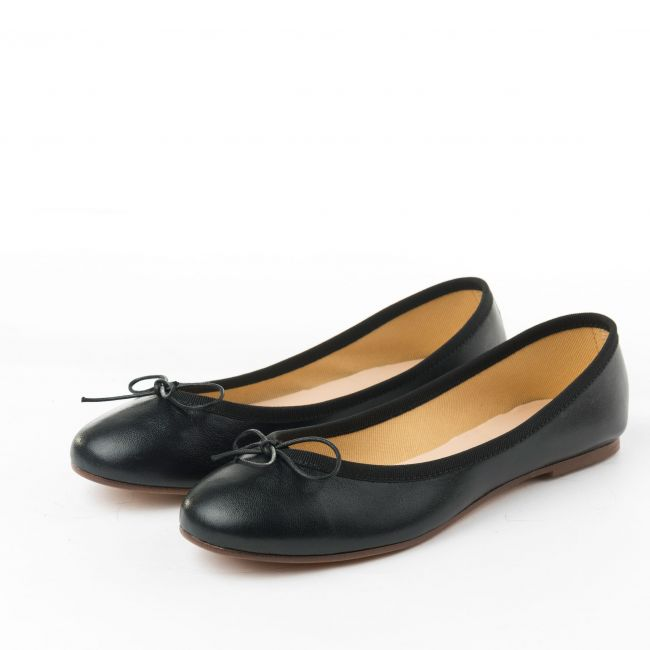 Black metallic leather ballet flats