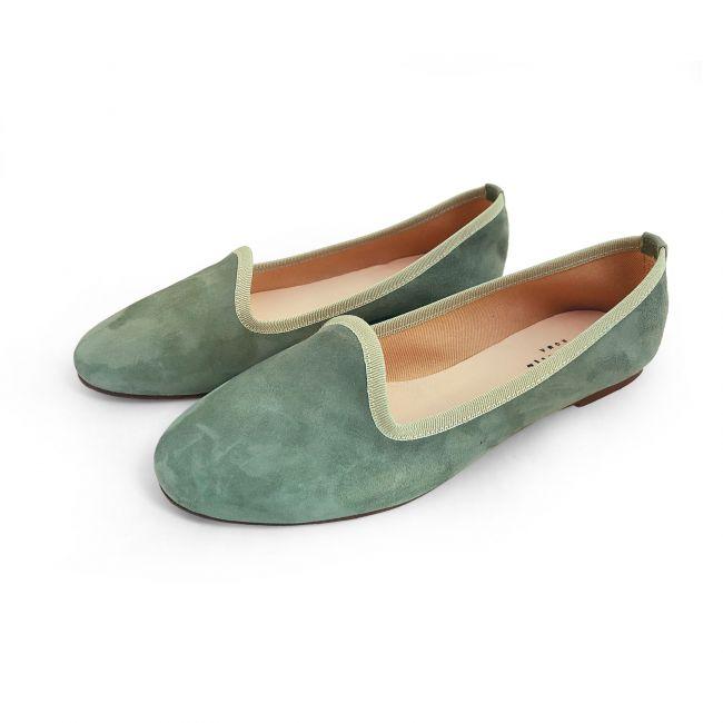 Slippers da donna in camoscio verde oliva