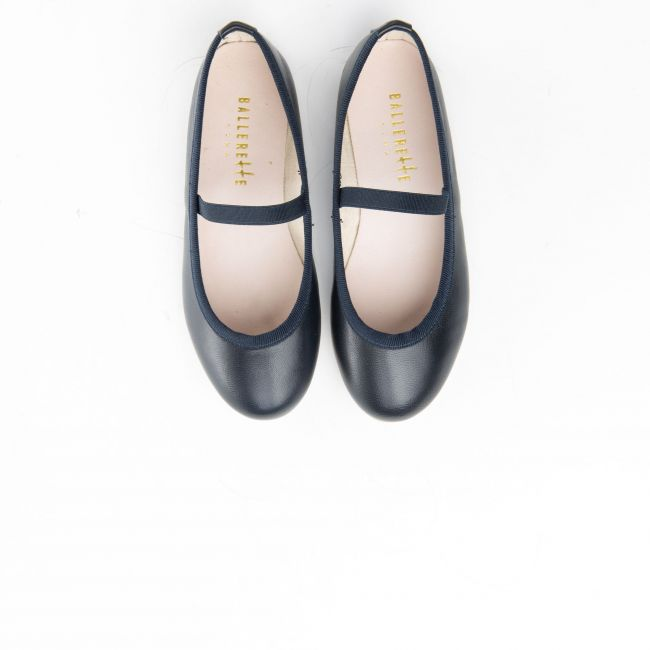 Blue leather girls ballet flats with elastic band