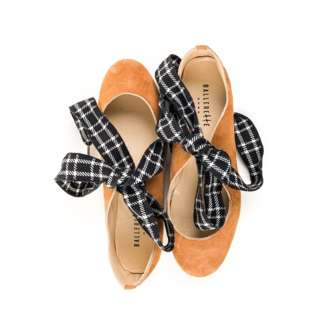 Tan suede ballet flats with houndstooth bow