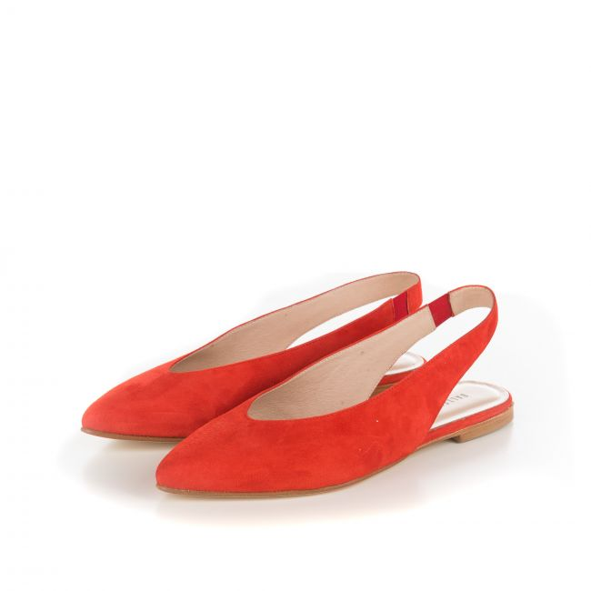 Slingback ballet flats in red suede