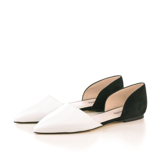 White leather and black suede d'Orsay ballet flats