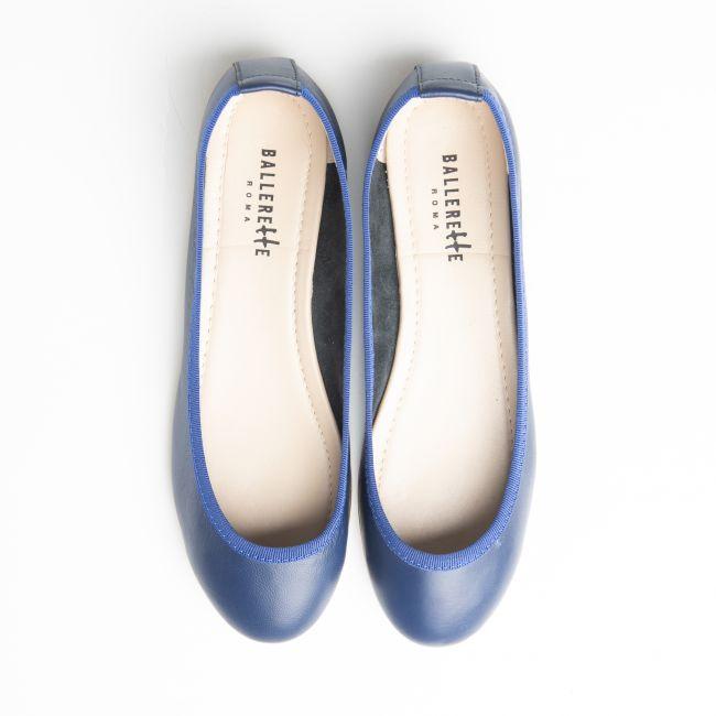 Blue low cut  leather ballet flats