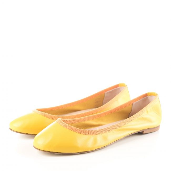Yellow low cut leather ballet flats