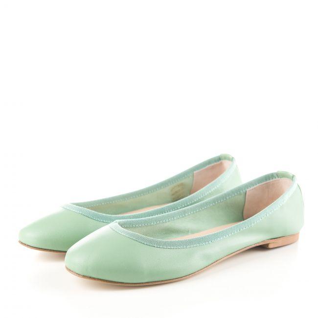 Mint green low cut leather ballet flats