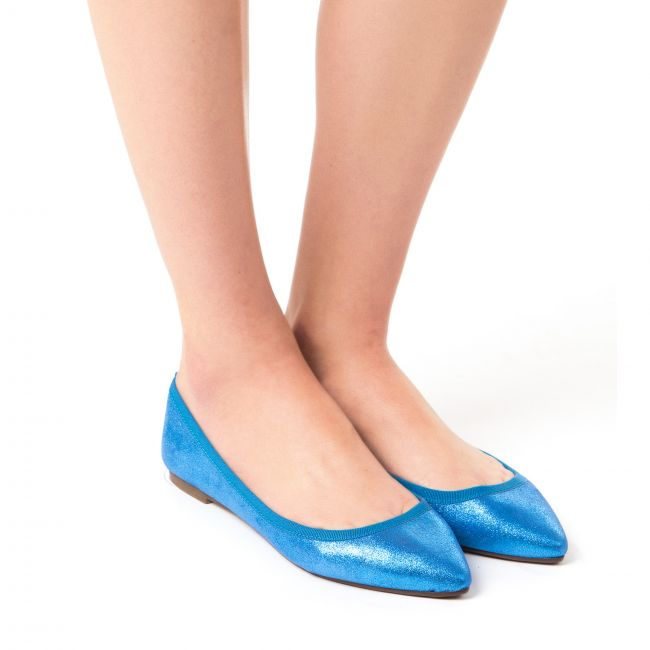 Blue metallic leather pointed toe ballet flats