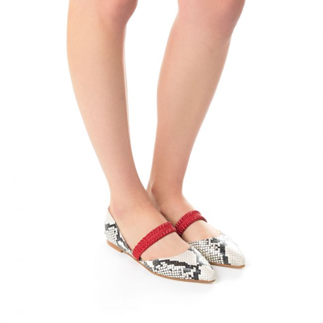 Pointed toe ballet flats grey stone snakeskin effect leather with red band