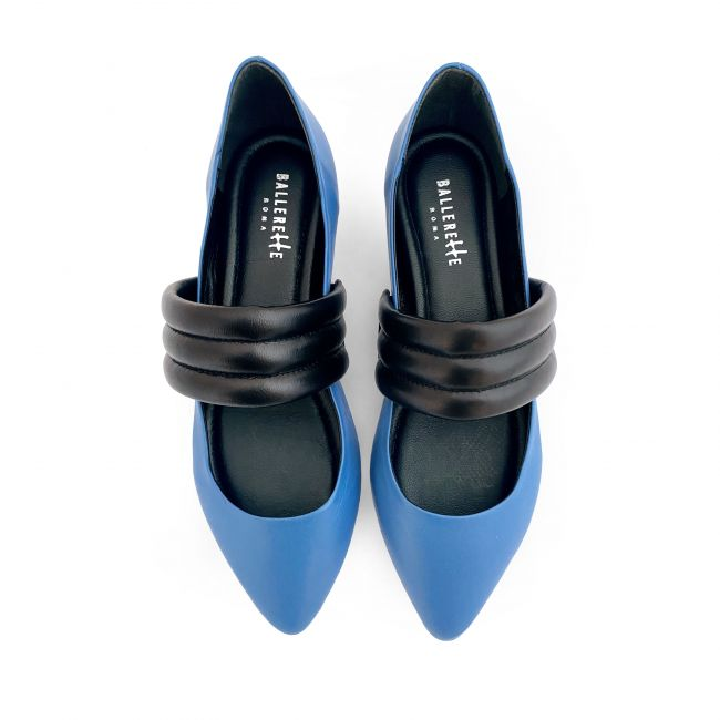 Blue jeans low cut ballet flats with hidden wedge heel and black tubular band