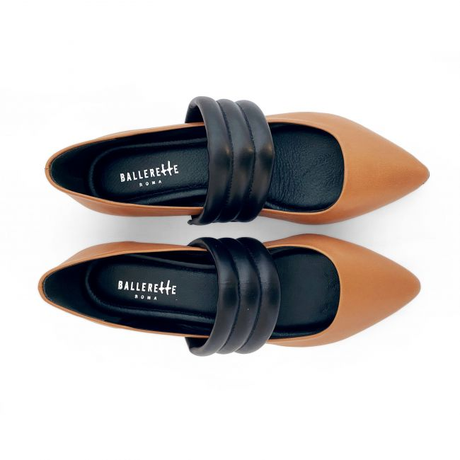 Tan low cut ballet flats with hidden wedge heel and black tubular band