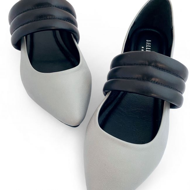 Gray low cut ballet flats with hidden wedge heel and black tubular band