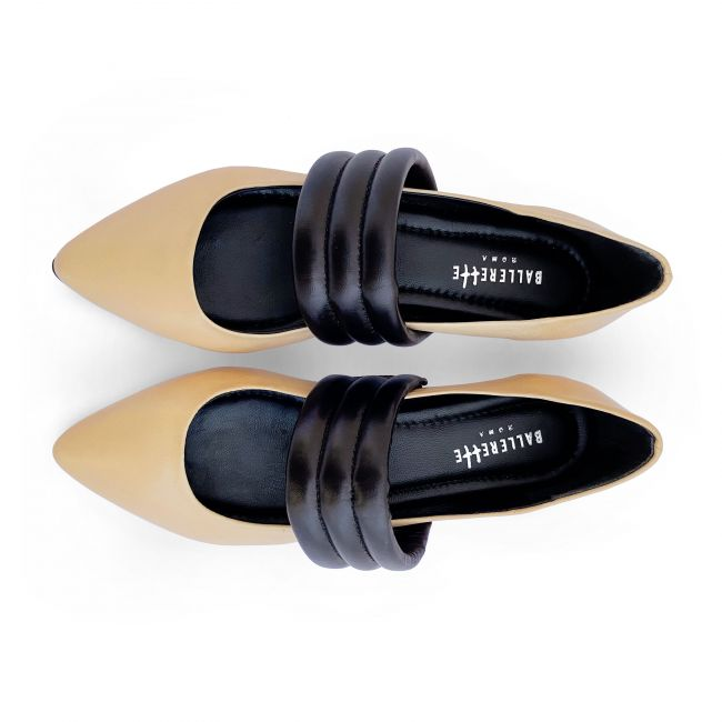 Powder pink low cut ballet flats with hidden wedge heel and black tubular band