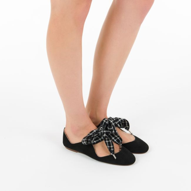 Black suede ballet flats with houndstooth bow
