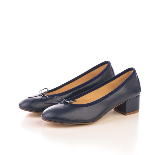 Blue leather ballet flats with heel
