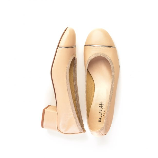 Powder pink leather ballet flats with high heel and iron detail