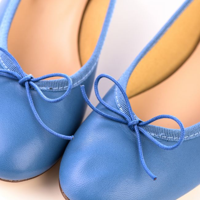Blue jeans leather ballet flats with heel