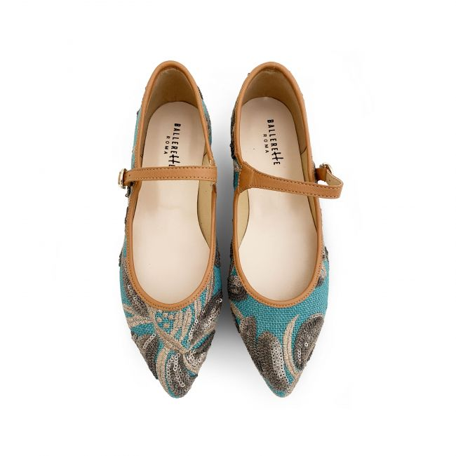 Turquoise jute ballet flats with sequins floral print