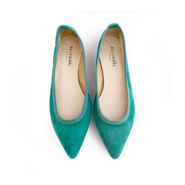 Emerald pointed toe ballet flats
