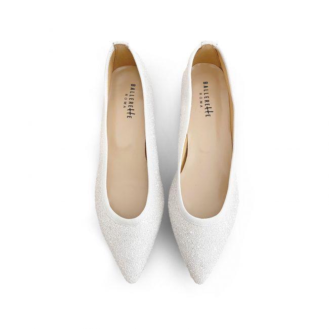White glitter pointed toe ballet flats