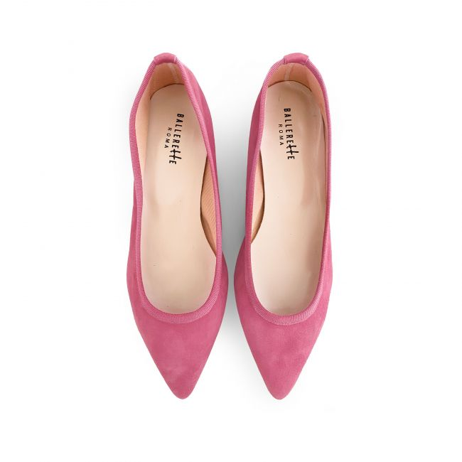 Pink suede pointy ballet flats