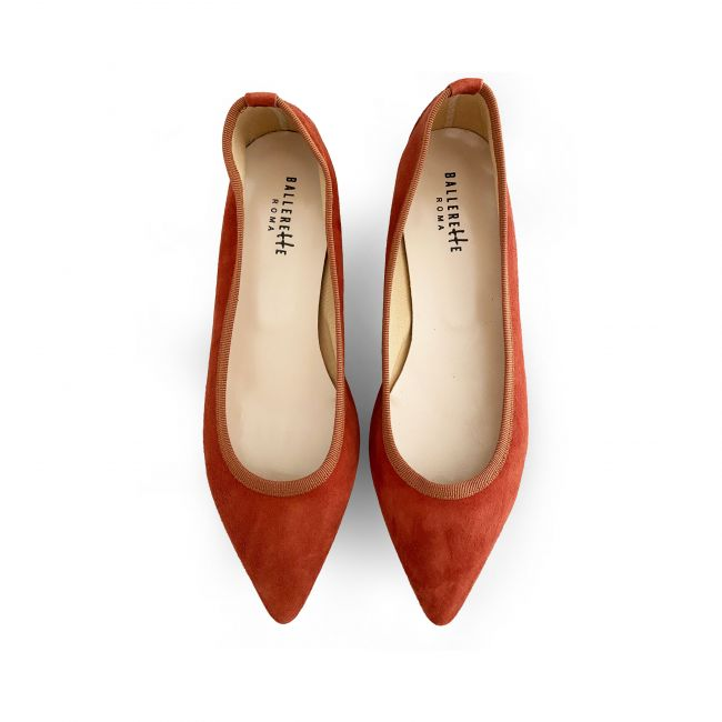 Pointed toe rust suede ballet flats