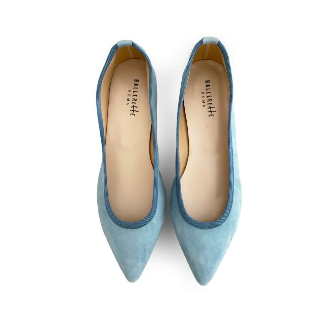 Pointed toe baby blue suede ballet flats