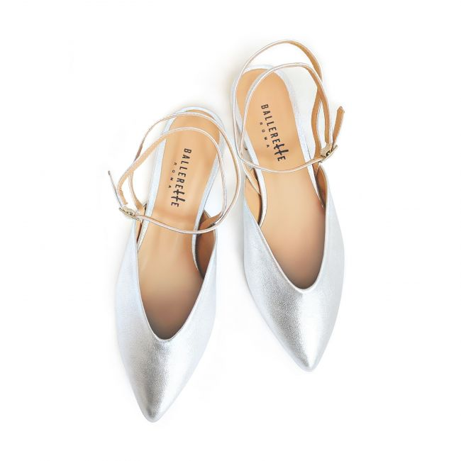 Silver pointed toe mule ballet flats with ankle strap