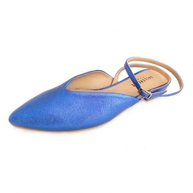 Blu pointed toe mule ballet flats with ankle strap