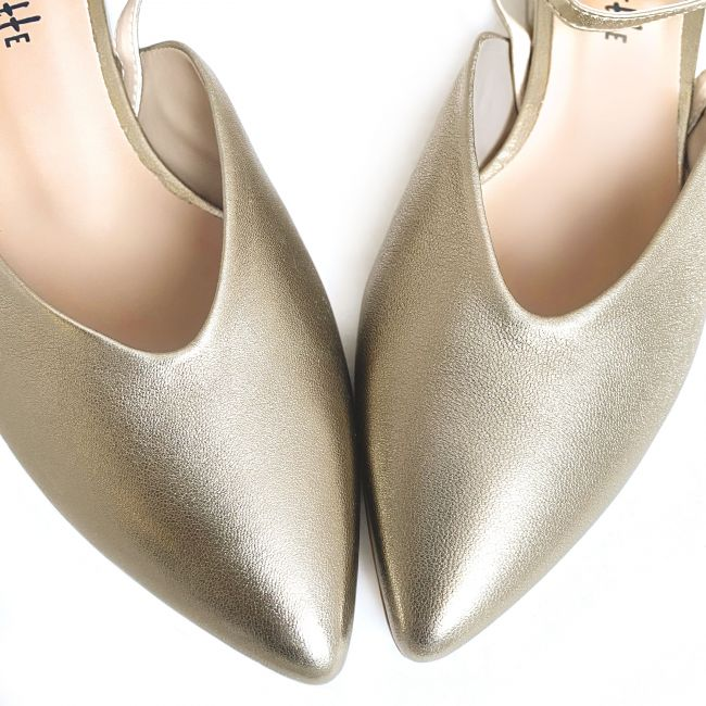 Bronze pointed toe mule ballet flats with ankle strap